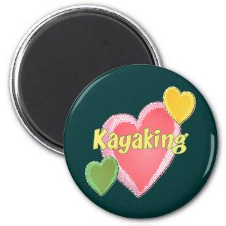I Love Kayak Hearts 2 Inch Round Magnet