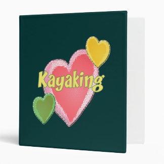 I Love Kayak Hearts 3 Ring Binder