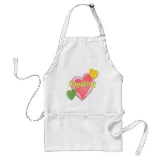 I Love Kayak Hearts Adult Apron