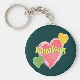 I Love Kayak Hearts Basic Round Button Keychain