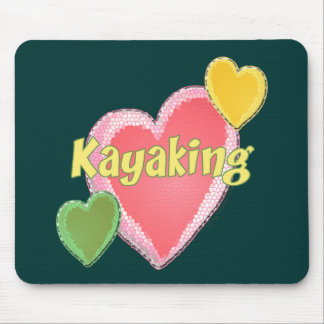 I Love Kayak Hearts Mouse Pad