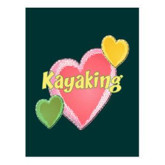 I Love Kayak Hearts Postcard