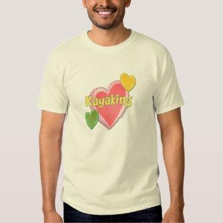 I Love Kayak Hearts Tee Shirt