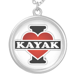I Love Kayak Silver Plated Necklace