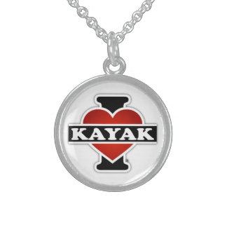 I Love Kayak Sterling Silver Necklace