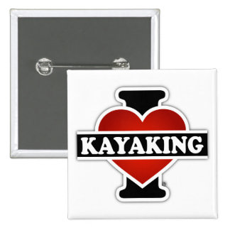I Love Kayaking 2 Inch Square Button