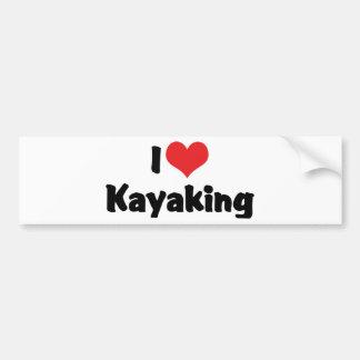 I Love Kayaking Car Bumper Sticker