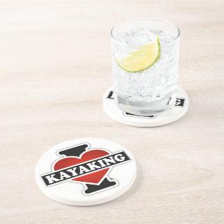 I Love Kayaking Beverage Coaster