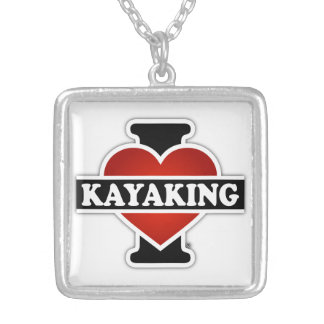 I Love Kayaking Silver Plated Necklace