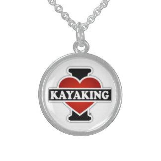 I Love Kayaking Sterling Silver Necklace