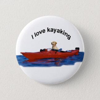 I love kayaking (yellow lab)  2 button