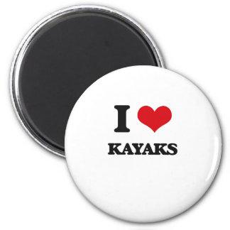 I Love Kayaks Refrigerator Magnets