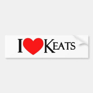 I Love Keats Car Bumper Sticker