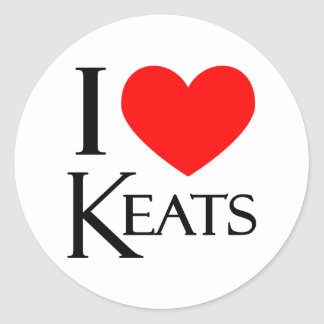 I Love Keats Classic Round Sticker
