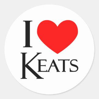 I Love Keats Round Sticker