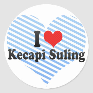 I Love Kecapi Suling Round Stickers