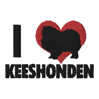 I Love Keeshonden Embroidered Long Sleeve Shirt