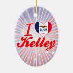 I Love Kelley, Iowa Christmas Tree Ornaments