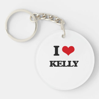 I Love Kelly Single-Sided Round Acrylic Keychain