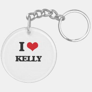 I Love Kelly Double-Sided Round Acrylic Keychain