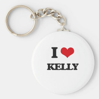 I Love Kelly Basic Round Button Keychain