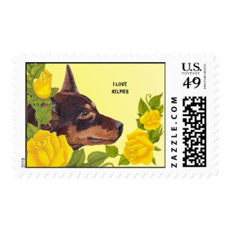 I Love Kelpies & Yellow Roses Custom USA Postage