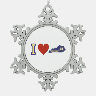 I Love Kentucky Pewter Snowflake Ornament
