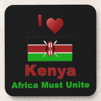 I Love Kenya, Africa Must Unite Beverage Coaster
