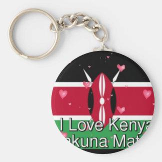 I Love ! Kenya Hakuna Matata Basic Round Button Keychain