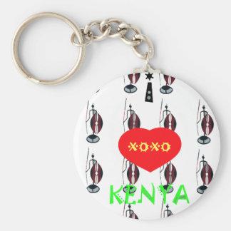 I Love Kenya XOXO Basic Round Button Keychain
