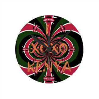 I Love Kenya XOXO Black Red Green Flag Colors Round Clock