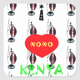 I Love Kenya XOXO Maasai with shield and spear Square Sticker