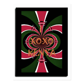 I Love Kenya XOXO National Flag Colors Postcard