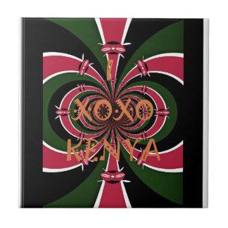 I Love Kenya XOXO National Flag Colors Tile