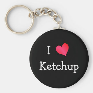 I Love Ketchup Basic Round Button Keychain