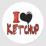 I Love Ketchup Round Stickers