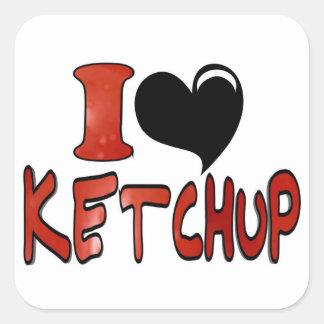 I Love Ketchup Square Sticker