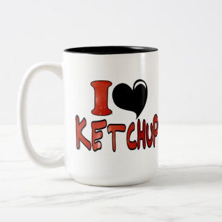 I Love Ketchup Two-Tone Coffee Mug