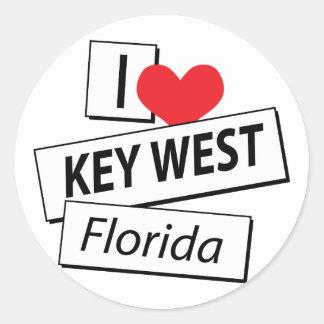 I Love Key West Florida Classic Round Sticker