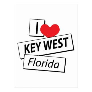 I Love Key West Florida Postcard