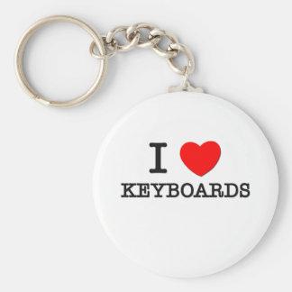 I Love Keyboards Basic Round Button Keychain