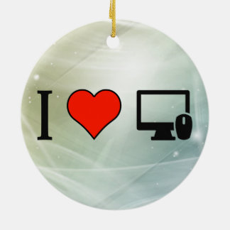 I Love Keywords Double-Sided Ceramic Round Christmas Ornament