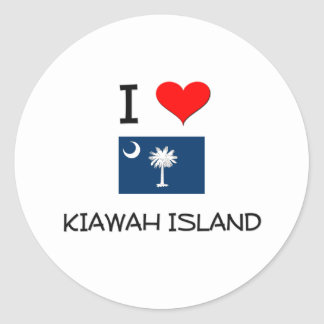 I Love Kiawah Island South Carolina Classic Round Sticker