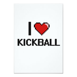 I Love Kickball Digital Retro Design 3.5x5 Paper Invitation Card