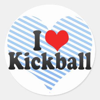I Love Kickball Classic Round Sticker