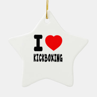 I Love kickboxing Double-Sided Star Ceramic Christmas Ornament