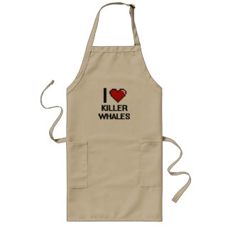 I love Killer Whales Digital Design Long Apron