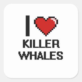 I love Killer Whales Digital Design Square Sticker