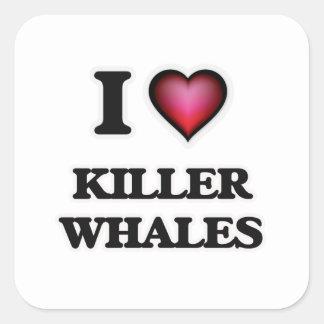 I Love Killer Whales Square Sticker