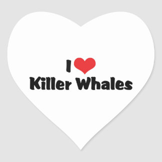 I Love Killer Whales Heart Stickers
